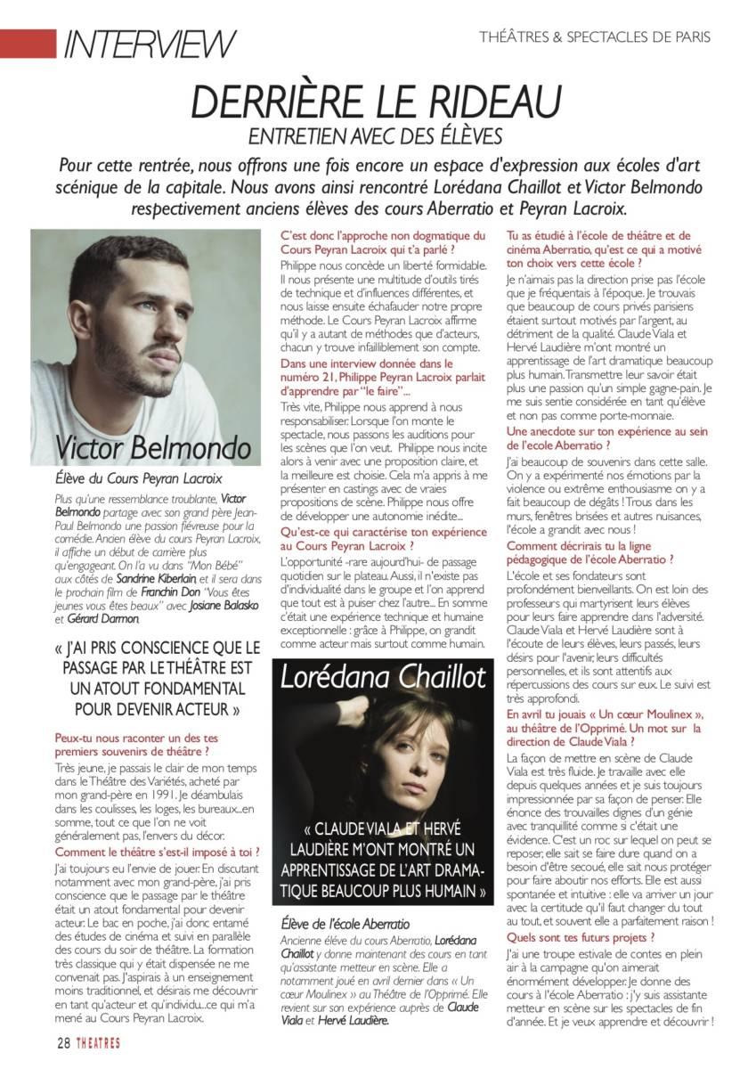 Victor Belmondo s'exprime dans le magazine Théâtres et Spectacles